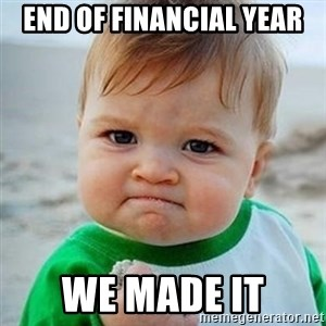 Victory Baby - End of financial year we made it