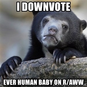 Confession Bear - I downvote Ever human baby on r/aww