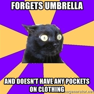 Anxiety Cat - Forgets umbrella And doesn't have any pockets on clothing