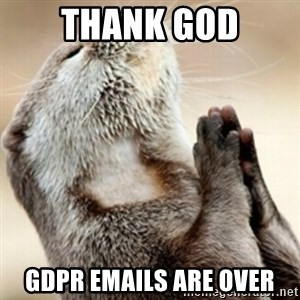 Praying Otter - Thank God GDPR emails are over