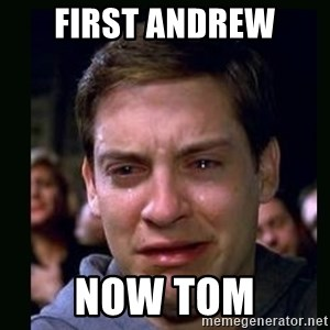 crying peter parker - First Andrew now Tom
