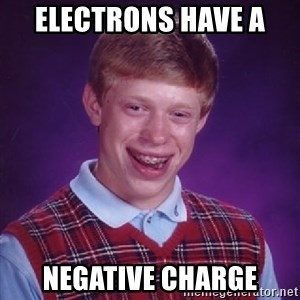 Bad Luck Brian - Electrons have a  Negative charge