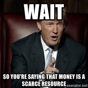 Donald Trump - wait so you're saying that money is a scarce resource