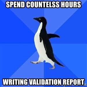 Socially Awkward Penguin - spend countelss hours  writing validation report