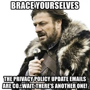 Brace Yourself Winter is Coming. - brace yourselves the privacy policy update emails are co...wait, there's another one!