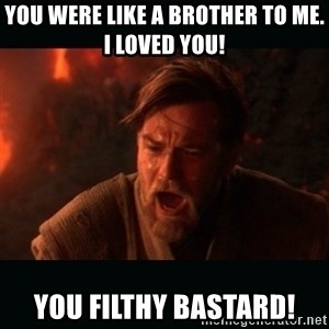 "Obi Wan Kenobi ""You were my brother!"" - You were like a brother to me. I loved you!  You filthy bastard!"