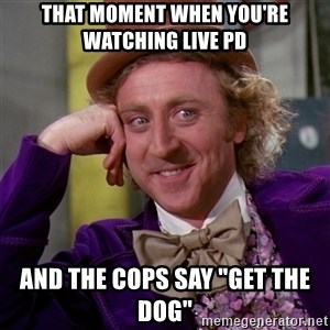 """Willy Wonka - That moment when you're watching live pd and the cops say """"Get the dog"""""""