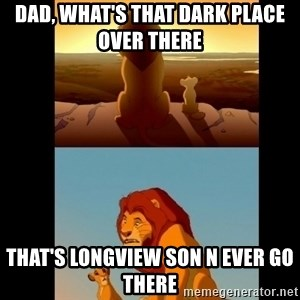 Lion King Shadowy Place - Dad, what's that dark place over there  That's Longview son N EVER go there