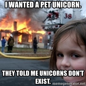 Disaster Girl - I wanted a pet unicorn. They told me unicorns don't exist.