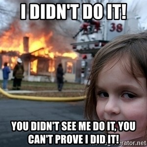 Disaster Girl - i didn't do it! you didn't see me do it, you can't prove i did it!