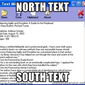 Text - north text south text