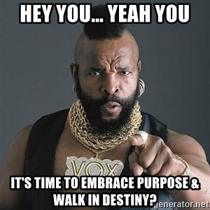 Mr T - Hey You... Yeah You It's time to Embrace Purpose & walk in DESTINY?