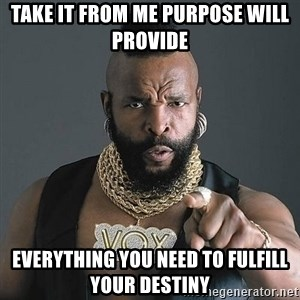 Mr T - Take it from me PURPOSE WILL PROVIDE Everything you need to fulfill your DESTINY