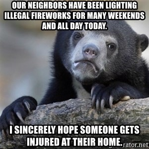 Confession Bear - Our neighbors have been lighting illegal fireworks for many weekends and all day today. I sincerely hope someone gets injured at their home.