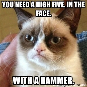 Grumpy Cat  - you need a high five. In the face. with a hammer.