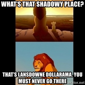 Lion King Shadowy Place - What's that shadowy place? That's Lansdowne Dollarama. You must never go there