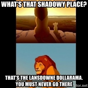Lion King Shadowy Place - What's that shadowy place? That's the Lansdowne Dollarama. You must never go there