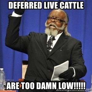 Rent Is Too Damn High - Deferred Live Cattle are too damn low!!!!!