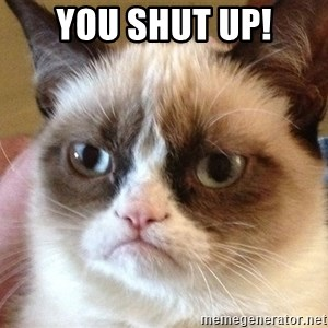 Angry Cat Meme - you shut up!