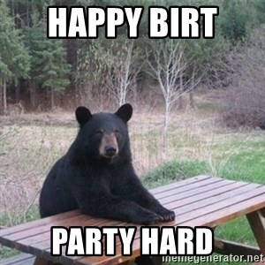 Patient Bear - Happy Birt  Party hard