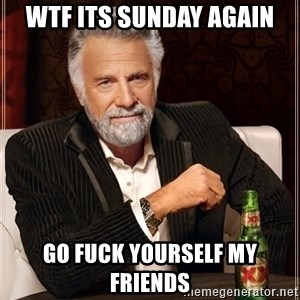 The Most Interesting Man In The World - wtf its sunday again go fuck yourself my friends