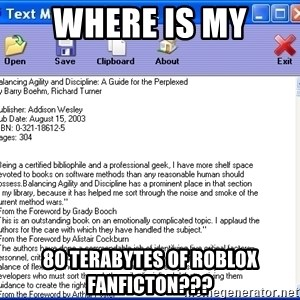 Text - Where is my 80 terabytes of roblox fanficton???