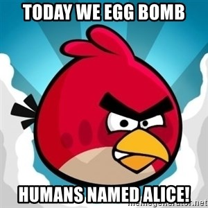 Angry Bird - Today we egg bomb humans named Alice!