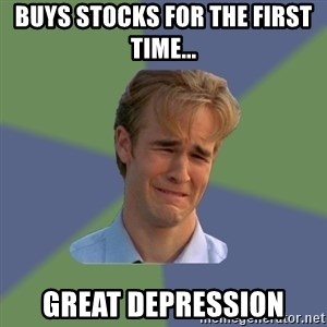 Sad Face Guy - buys stocks for the first time... great depression