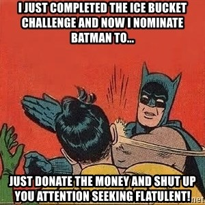 batman slap robin - I JUST COMPLETED THE ICE BUCKET CHALLENGE AND NOW I NOMINATE BATMAN TO... JUST DONATE THE MONEY AND SHUT UP YOU ATTENTION SEEKING FLATULENT!