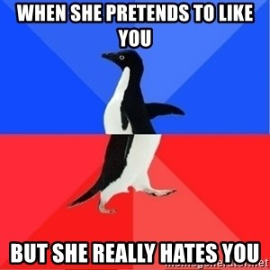 Socially Awkward to Awesome Penguin - When she pretends to like you But she really HATES you