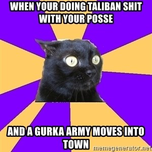 Anxiety Cat - when your doing taliban shit with your posse and a GURKA army moves into town