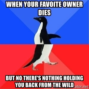 Socially Awkward to Awesome Penguin - When your favoite owner dies But no there's nothing holding you back from the wild
