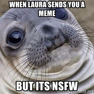 Awkward Moment Seal - WHEN LAURA SENDS YOU A MEME BUT ITS NSFW