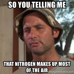 So I got that going on for me, which is nice - so you telling me  that nitrogen makes up most of the air