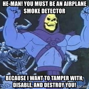 Skeletor - HE-MAN! YOU MUST BE AN AIRPLANE SMOKE DETECTOR  BECAUSE I WANT TO TAMPER WITH, DISABLE, AND DESTROY YOU!