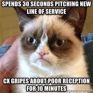 Grumpy Cat  - spends 30 seconds pitching new line of service cx gripes about poor reception for 10 minutes