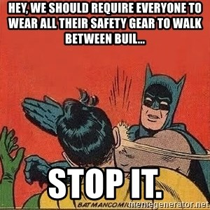 batman slap robin - Hey, we should require everyone to wear all their safety gear to walk between buil... STOP IT.