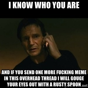 liam neeson taken - I know who you are and if you send one more fucking meme in this overhead thread I will gouge your eyes out with a rusty spoon