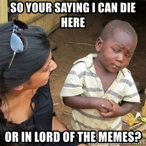 Skeptical 3rd World Kid - So your saying I can die here  Or in lord of the memes?