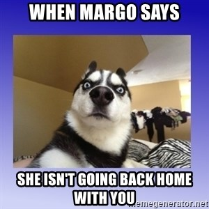 Dog Surprise - when margo says she isn't going back home with you