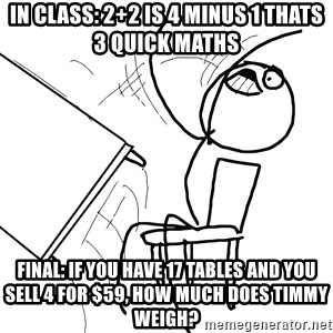 Desk Flip Rage Guy - In class: 2+2 is 4 minus 1 thats 3 quick maths Final: if you have 17 tables and you sell 4 for $59, how much does timmy weigh?