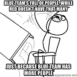 Desk Flip Rage Guy - blue team's full of people, while red doesn't have that many just because blue team has more people