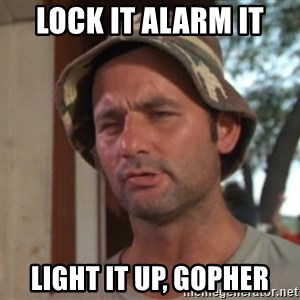 So I got that going on for me, which is nice - Lock it alarm it light it up, gopher