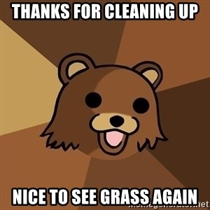 Pedobear - thanks for cleaning up nice to see grass again