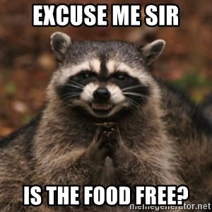 evil raccoon - Excuse me Sir Is the food free?