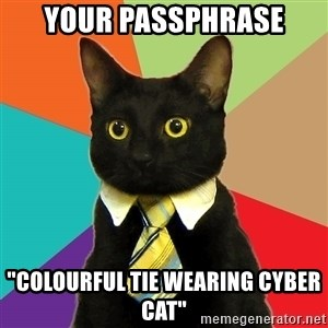 "Business Cat - Your passphrase ""Colourful tie wearing cyber cat"""