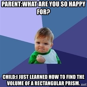 Success Kid - Parent:What are you so happy for? Child:I just learned how to find the volume of a rectangular prism.