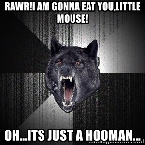 Insanity Wolf - RAWR!I AM GONNA EAT YOU,LITTLE MOUSE! OH...ITS JUST A HOOMAN...