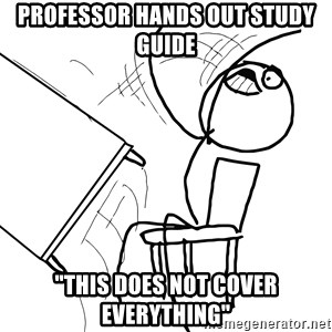 """Desk Flip Rage Guy - professor hands out study guide """"this does not cover everything"""""""