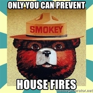 Smokey the Bear - Only you can prevent house fires